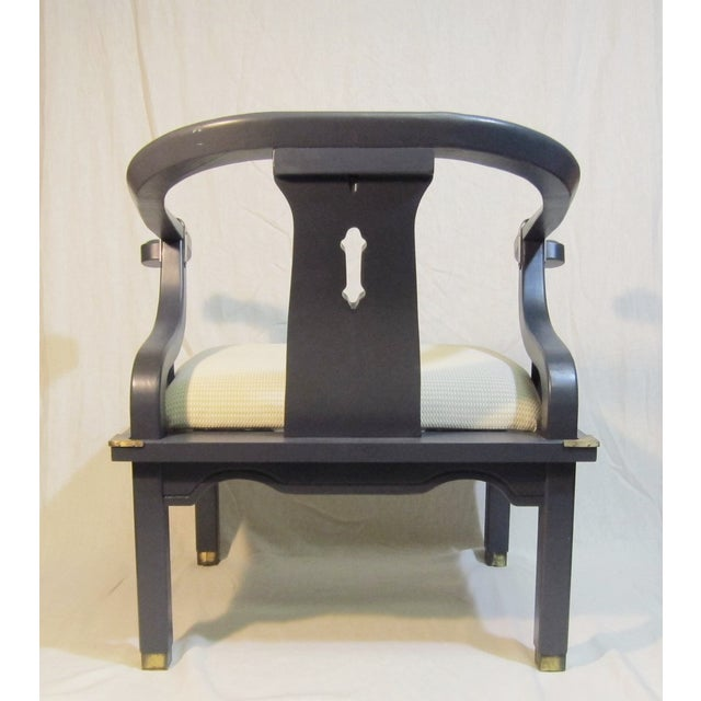 Navy Mao Chair With Brass Trim - Image 4 of 5