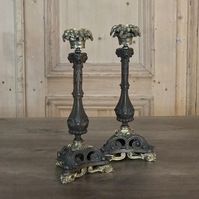 Gold Pair of Napoleon III Period Bronze Candlesticks For Sale - Image 8 of 11