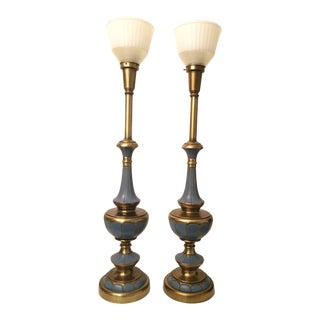 1960s Art Deco Rembrandt Brass and Blue Painted Torchiere Lamps - a Pair