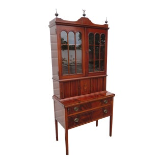 Hepplewhite Inlay Two Part Tall Flame Mahogany Display Cabinet and Desk 3447 For Sale