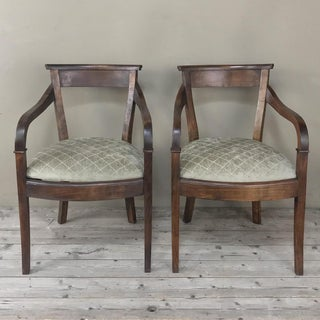 Pair Mid-Century Directoire Cherrywood Armchairs Preview