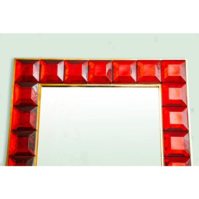 Contemporary Red Diamond Murano Glass Mirror For Sale - Image 4 of 9