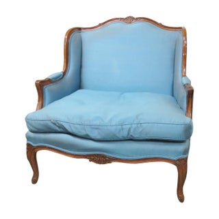Louis XVI Style Upholstered Bergere Chair For Sale