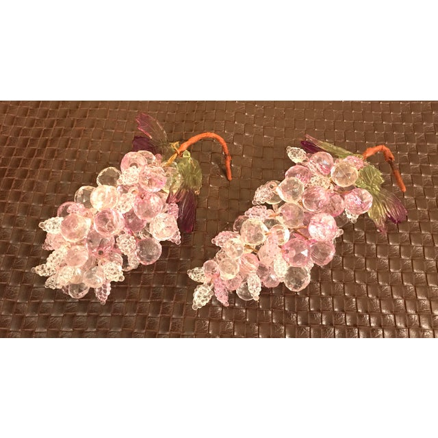Pink & Clear Faceted Lucite Grapes - A Pair - Image 4 of 9