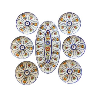 Mid 20th Century Quimper Faïence Oyster Service - Set of 7 For Sale