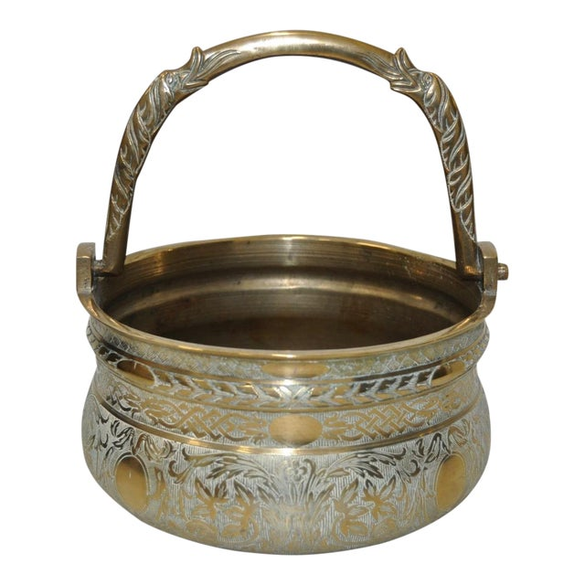 19th-Century Brass Pot with Dolphin Handle - Image 1 of 5