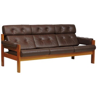 "Mid-Century Danish Modern Ekornes Teak and Leather ""Amigo"" Three-Seat Sofa For Sale"