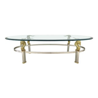 1970s Hollywood Regency Brass Ibex Ram's Head Coffee Table For Sale