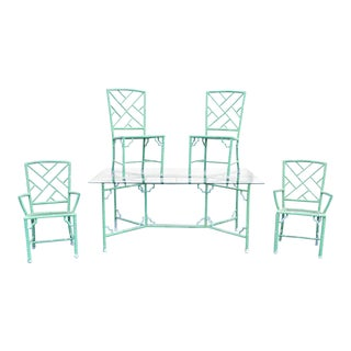 Vintage Meadowcraft Faux Bamboo Chinese Chippendale Green Cast Aluminium Patio Dining Set