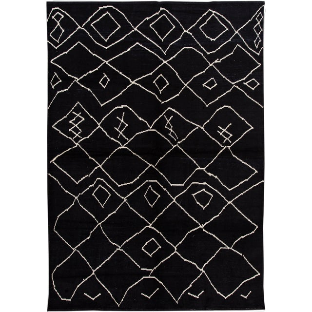 Modern Moroccan Style Wool Rug 10 X 14 For Sale - Image 13 of 13