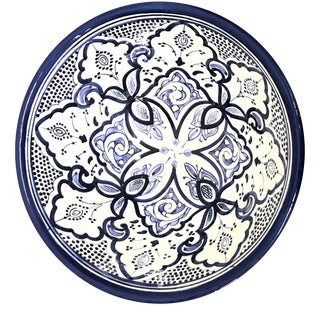 Moroccan Hand-Painted Blue Medium Ceramic Bowl For Sale