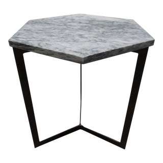 Hexagonal Marble Top Side Table For Sale