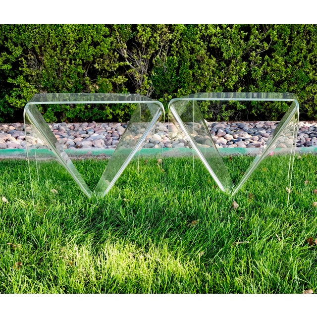 Neal Small Acrylic/ Lucite Tables - A Pair For Sale - Image 5 of 8