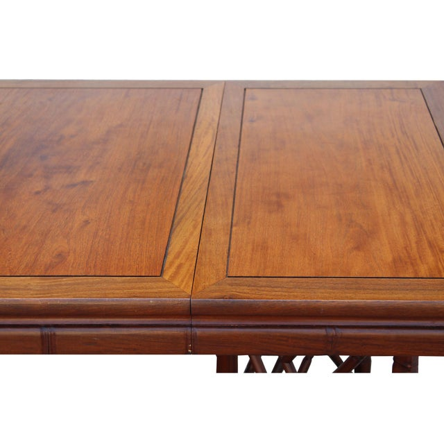 Chinese Oriental Brown Rectangular Writing Desk Dining Table For Sale - Image 9 of 10