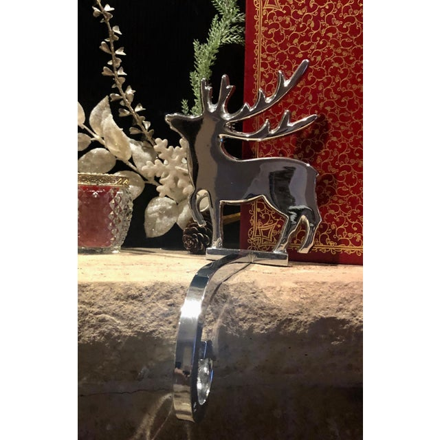 Vintage Reindeer Silver Plated Stocking Hangers - Set of 2 For Sale - Image 4 of 9