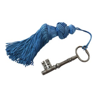 European Chateau Key With Teal Blue Tassel For Sale
