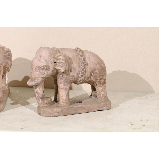 English Pair of Eclectic 20th Century British Colonial Terracotta Elephants in Pale Pink For Sale - Image 3 of 9