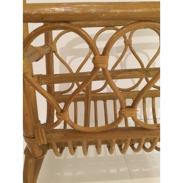 Vintage Boho Chic Rattan Magazine Rack. A very cool retro accent piece!