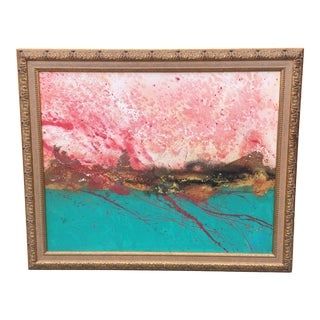 1990s Abstract Oil on Canvas Framed Painting For Sale