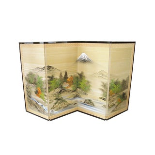 1970s Vintage Hand Painted 4-Panel Asian Inspired Folding Screen For Sale