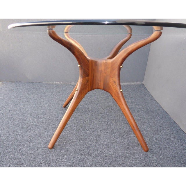 Danish Modern Organic Modernism Carved Walnut Pedestal Glass Top Dining Table For Sale - Image 9 of 11
