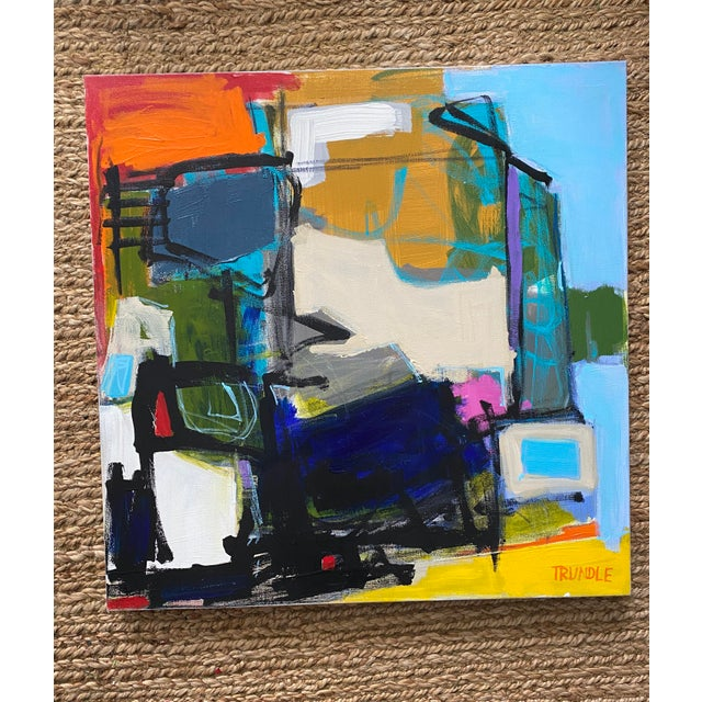 A bold, bright, colorful, geometric composition. Acrylic, pastel, and graphite on thick gallery wrapped canvas. Edges...