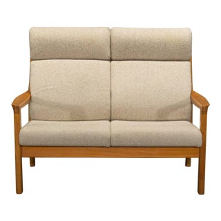 Teak High Back Loveseat by Johannes Andersen for Cfc Silkeborg For Sale