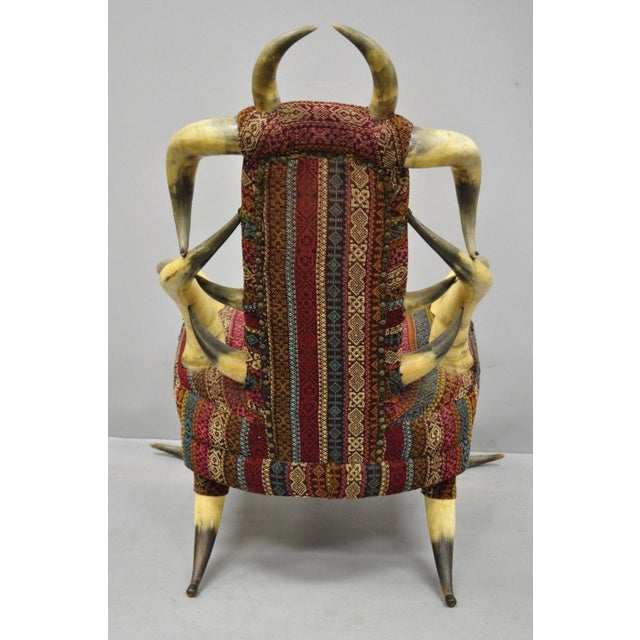 Textile Early 20th Century Antique Upholstered Steer Horn Parlor Chair For Sale - Image 7 of 10