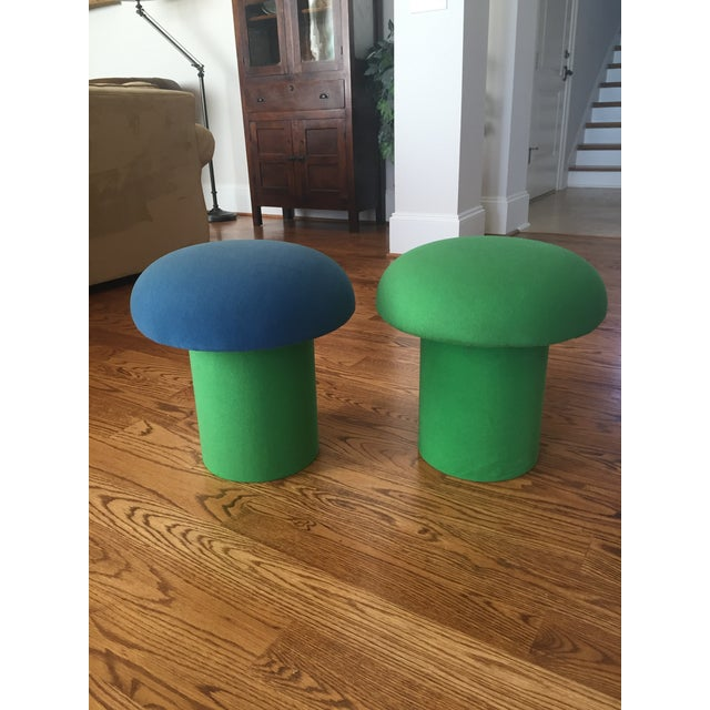 Fun and quirky, pair of mushroom ottomans from the 1960s-70s Made by Glomar Industries out of NY They could be left is, or...