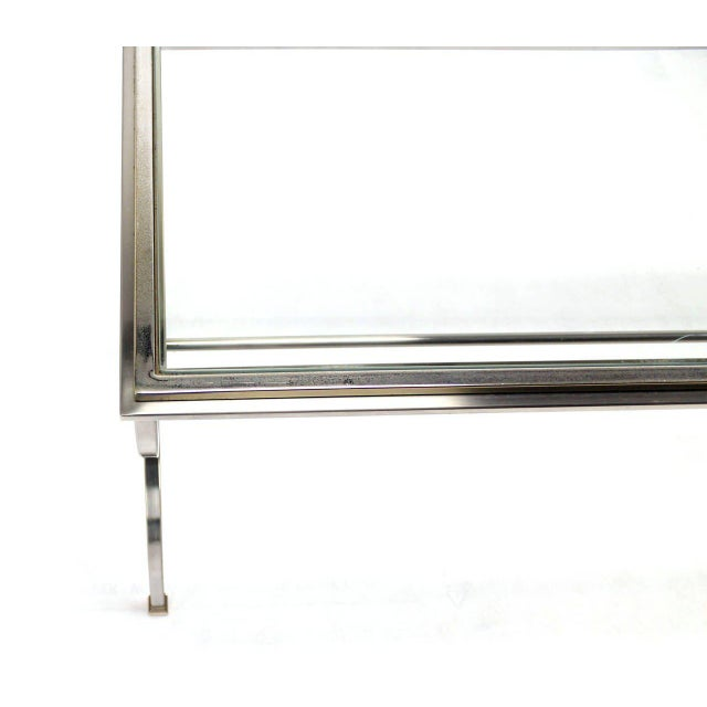 Contemporary Chrome Brass & Glass Top Console Table For Sale - Image 3 of 6