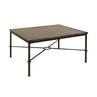 Custom Coffee Table With Honed Granite Top and Black Iron Base For Sale