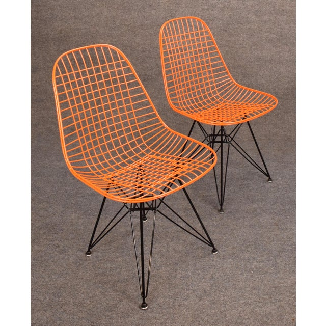 Iron Vintage Herman Miller for Eamer Mid-Century Dkr Orange Chairs For Sale - Image 7 of 11