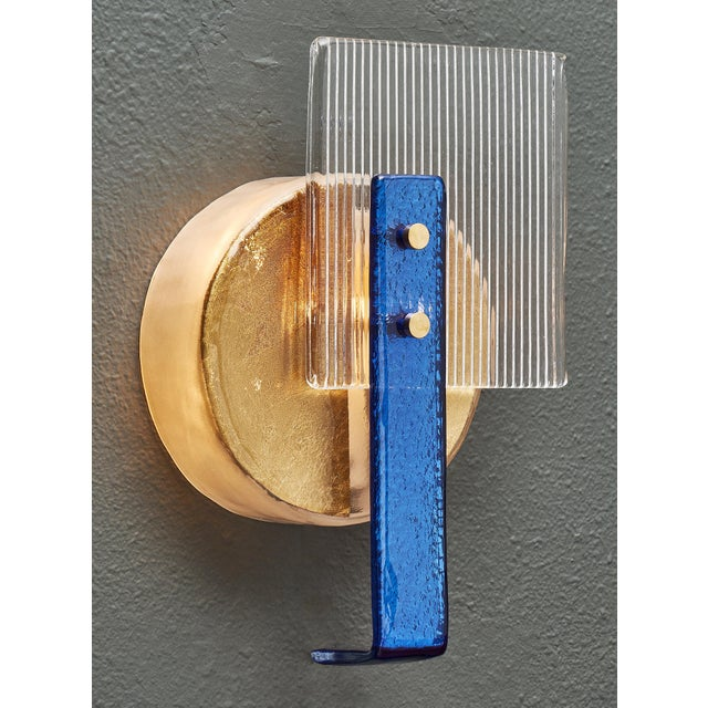 Cubism Murano Glass Cobalt and Gold Sconces For Sale - Image 3 of 10