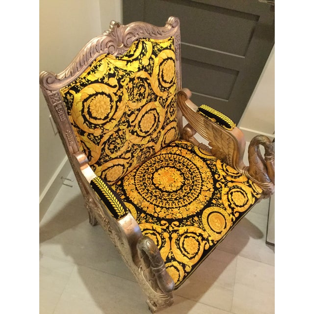 Metal 1960s Vintage Gianni Versace Black Gold Upholstery Throne Swan Chair For Sale - Image 7 of 13