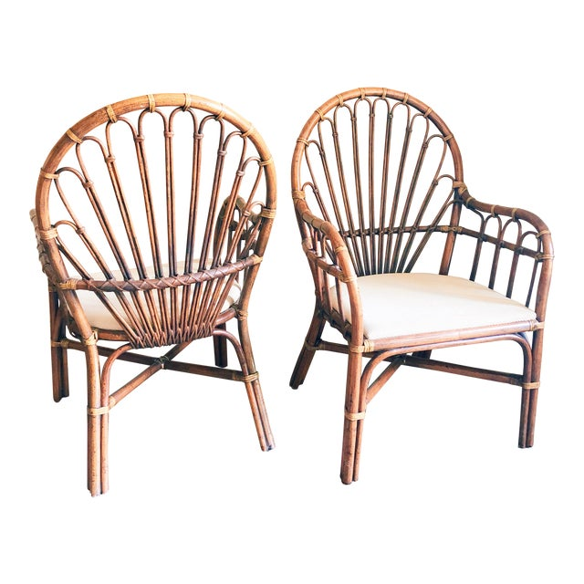 1990s Vintage Rattan Chairs- A Pair For Sale