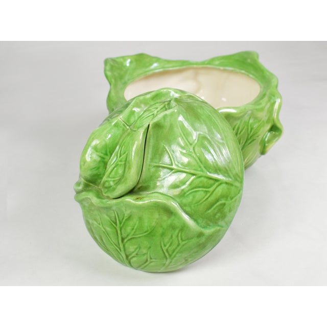 Mid-Century Holland Mold Ceramic Lettuce or Cabbage Serving Bowl With Lid For Sale - Image 9 of 12