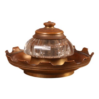 Bronze and Glass Ink Well, Europe 19th Century For Sale