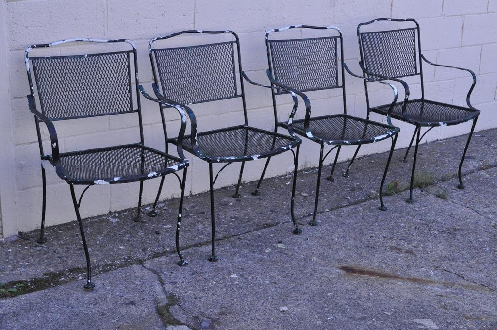Mid Century Modern Vintage Wrought Iron Outdoor Patio Dining Set Table 4  Chairs Meadowcraft Woodard
