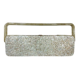 Rare 1950s Lucite Clutch We Compact Accessories in a Confetti Design For Sale