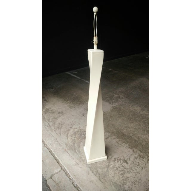 Ivory 1980's Twisted Modern Floor Lamp For Sale - Image 8 of 11