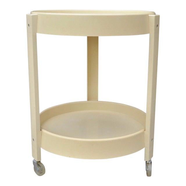 Vintage Joe Colombo Style Mid Century Modern Plastic Round Bar Tea Cart For Sale