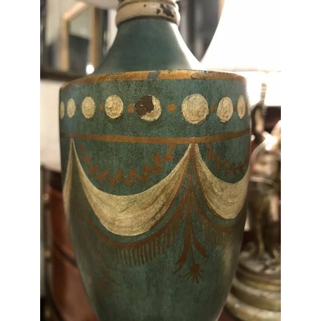 Metal Blue Tole Urn Lamp For Sale - Image 7 of 8