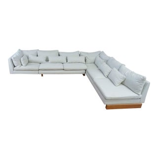 West Elm White Upholstered Sectional For Sale