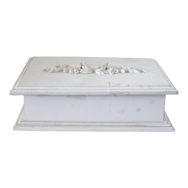 Vintage White Wooden Box With Bow Detaililng For Sale