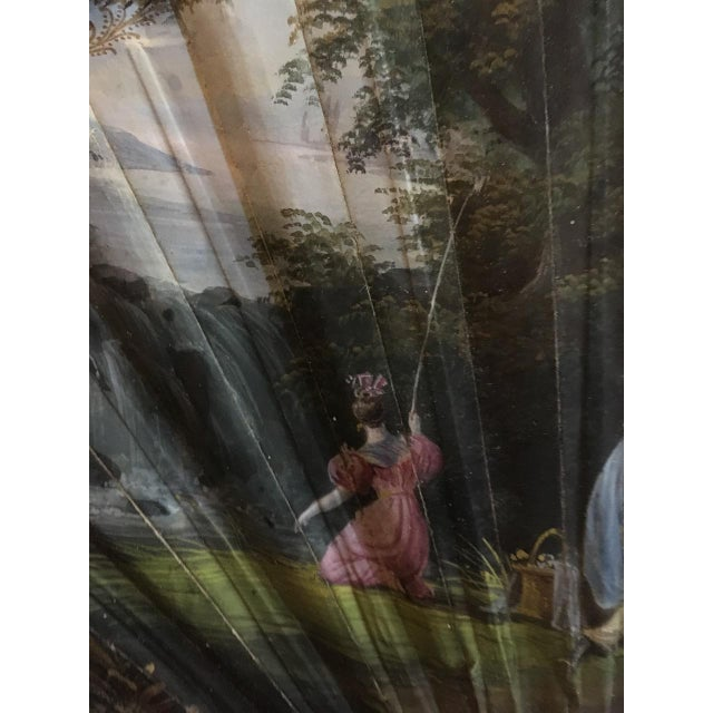 Early 19th Century 1830's Vintage French Hand Painted Watercolor Woman's Romantic Era Folding Fan For Sale - Image 5 of 13