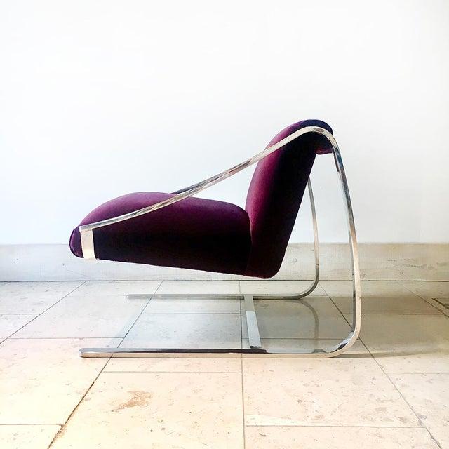 Mid-Century Modern Single Original Plaza Velvet Upholstered Lounge Chair by Brueton 1970s For Sale - Image 3 of 7