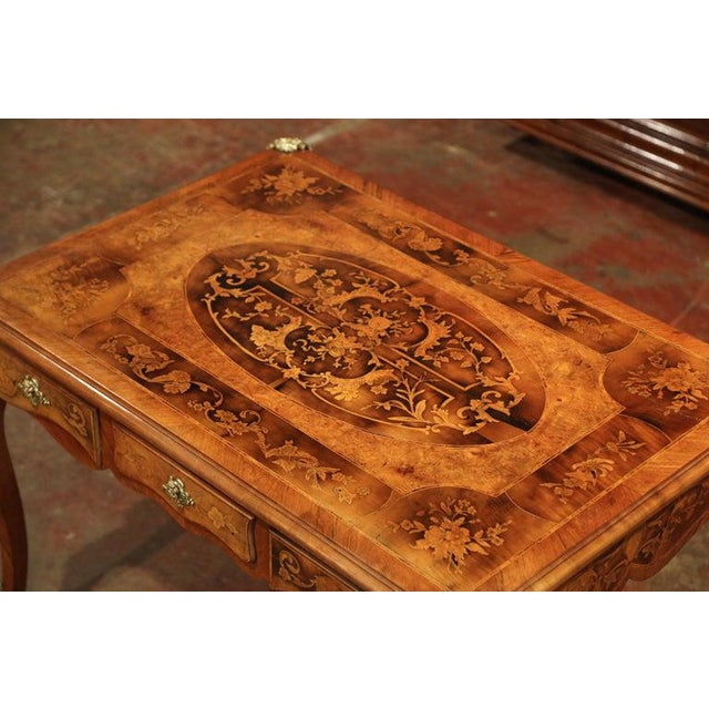Early 19th Century French Louis XV Marquetry Lady's Desk With Bronze Mounts For Sale - Image 4 of 11