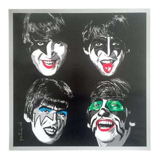 "Mr. Brainwash "" the Beatles as Kiss "" Rare Authentic Lithograph Print Pop Art Poster For Sale"