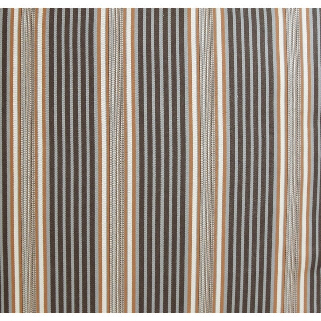 "French Striped Ticking Feather/Down Pillows 24"" Square - Pair For Sale - Image 4 of 11"