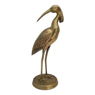 1970s Vintage Heron Brass Sculpture For Sale